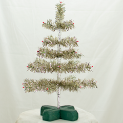 Antique Silver Tinsel 18in Trees with Foil and Red Berries Exclusive Collection made by Lee Display for Terrain Stores