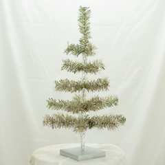 Antique Silver Tinsel 18in Tree with Foil Exclusive Collection made by Lee Display for Terrain Stores