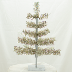 Antique Silver Tinsel 18in Trees Exclusive Collection made by Lee Display for Terrain Stores