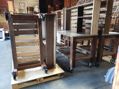 Lee Display's Potting Table ships on a pallet with a freight company in 2 sections