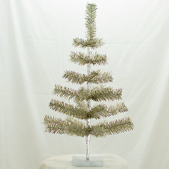 Antique Silver Tinsel 24in Trees with Foil Exclusive Collection made by Lee Display for Terrain Stores