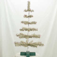 Antique Silver Tinsel 30in Trees with Foil and Red Berries Exclusive Collection made by Lee Display for Terrain Stores