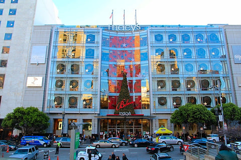 San Francisco's Union Square Macy's Entrance Geary St. Holiday Merchandising Decor from Lee Display
