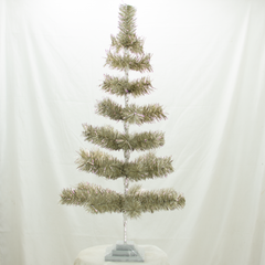 Antique Silver Tinsel 36in Trees with Foil Exclusive Collection made by Lee Display for Terrain Stores