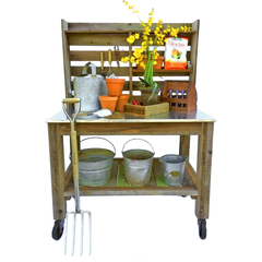 Redwood Potting Table Lee Display Fall Season Decorating Tips