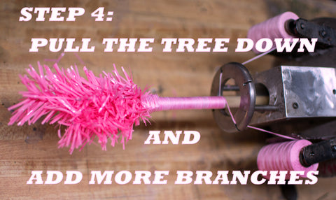 Step 4 of How to Make a Pink Christmas Tree from Lee Display using our proprietary custom built branching machines.