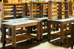 Your Potting Table is now assembled.  Unlock the brakes with your foot and you can then move the table wherever you like.  When necessary, apply brakes on any of the casters using your foot to switch the locking-brake on/off.