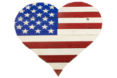 Valentine's Day American Flag Wooden Heart