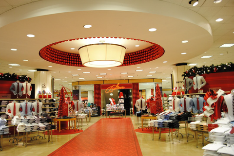 visual merchandising display macys red christmas holiday decorations