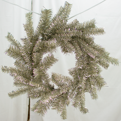 Antique Silver Tinsel Wreath Exclusive Collection made by Lee Display for Terrain Stores
