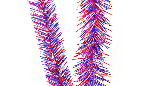 red, white, and blue tinsel garland sold in 25ft lengths from Lee Display