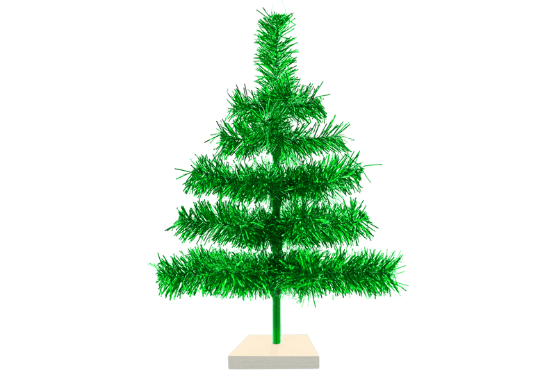 18in Metallic Green Tinsel Christmas Tree with Wood Base Stand Included sold by Lee Display
