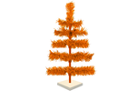 18in Orange Tinsel Christmas Tree with White Wood Stand Included sold by Lee Display