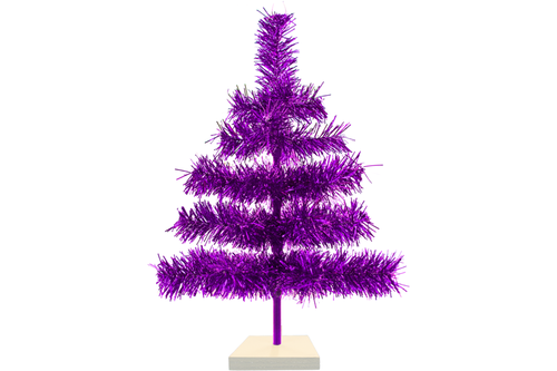 18in Purple Tinsel Christmas Tree with White Wood Stand Included sold by Lee Display