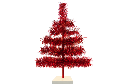 18in Red Tinsel Christmas Tree with White Wood Stand Included sold by Lee Display