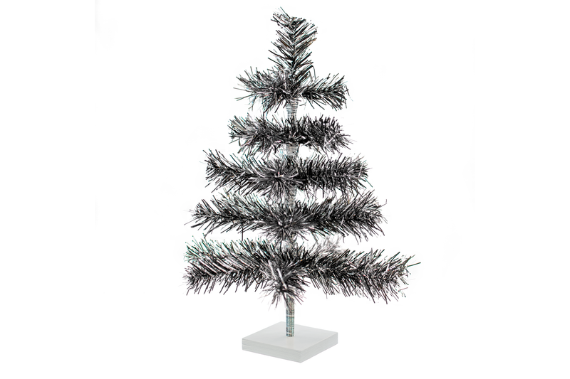 18in Silver and Black Christmas Tree made by Lee Display