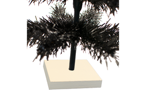 18in & 24in Black Tinsel Christmas Trees with White Bases Closeup