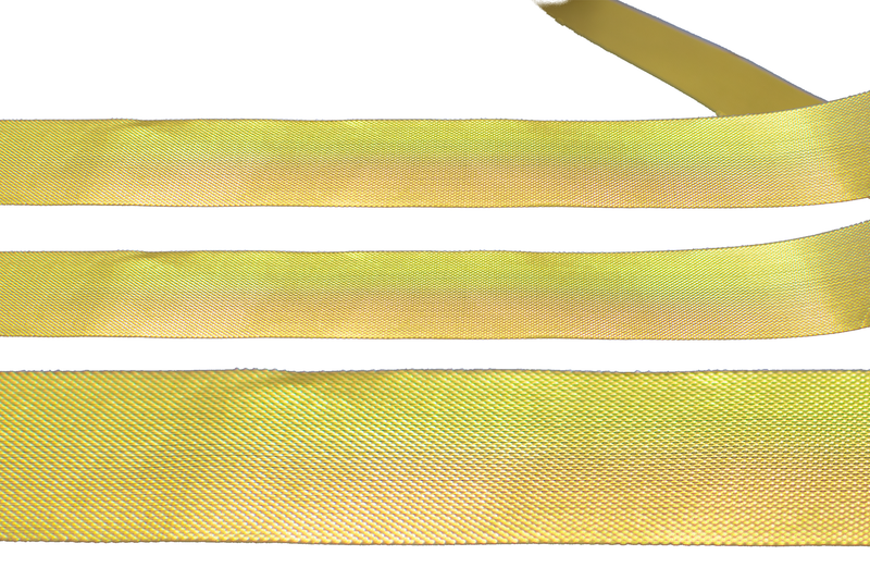 Up close shot of Lee Display's roll of Gold Christmas Ribbon 1in Width with no wired-edge selling for $3.99 for 50 yards.