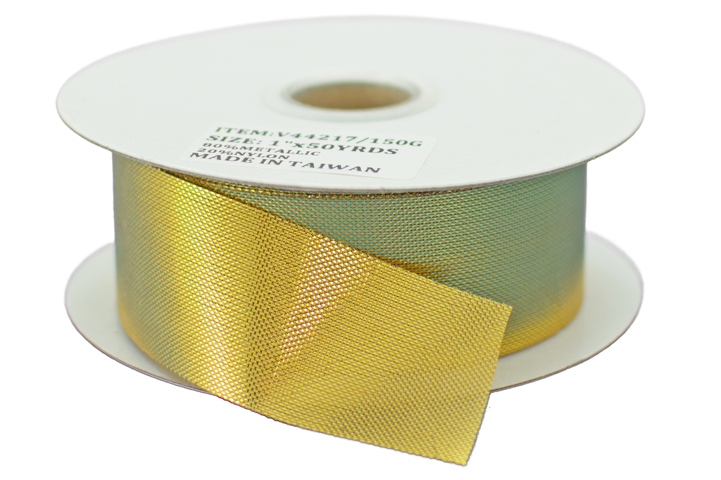 Lee Display's roll of Gold Christmas Ribbon 1in Width with no wired-edge selling for $3.99 for 50 yards.