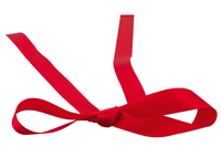 Example of a bow made from Lee Display's Red Christmas Ribbon roll of 50 yard no-wired edge 1in width ribbon.
