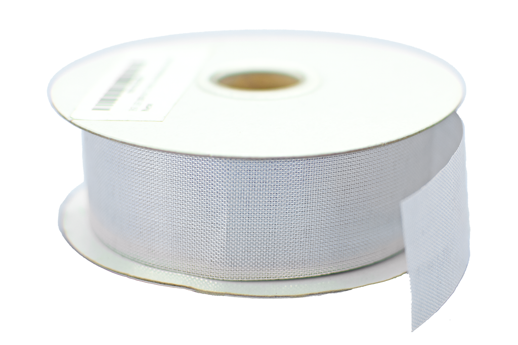 Roll of Silver Deco Mesh Ribbon Sold by Lee Display in 1in Width and 50 Yard Rolls