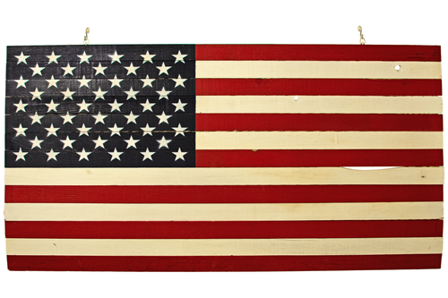 Lee Display's Wooden American Flag with Navy Blue Paint on sale now