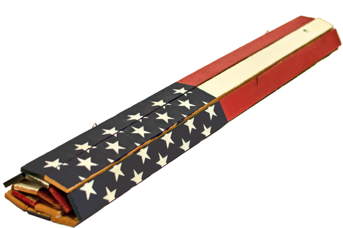 Wooden American Flags with Navy Blue Paint are engineered to roll up for easy storage