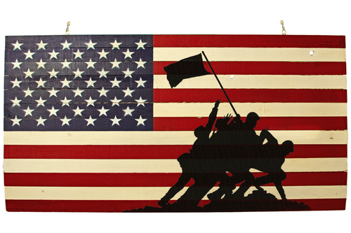 Brand New 2021 Wooden American Flag Painted with Raising the Flag on Iwo Jima Stencil sold by Lee Display