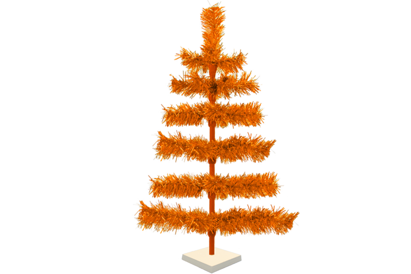 24in Orange Tinsel Christmas Tree with White Wood Stand Included sold by Lee Display