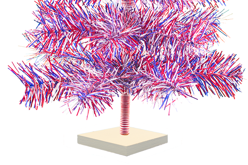 Red White and Blue 4th of July Christmas Trees with Firework Style Branches and white wooden Base
