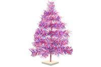 24in Red White and Blue 4th of July Christmas Trees with Firework Style Branches and white wooden Base made by Lee Display