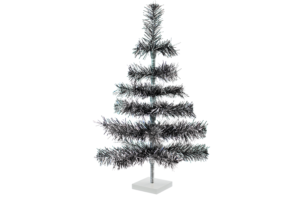 24in Silver and Black Christmas Tree made by Lee Display