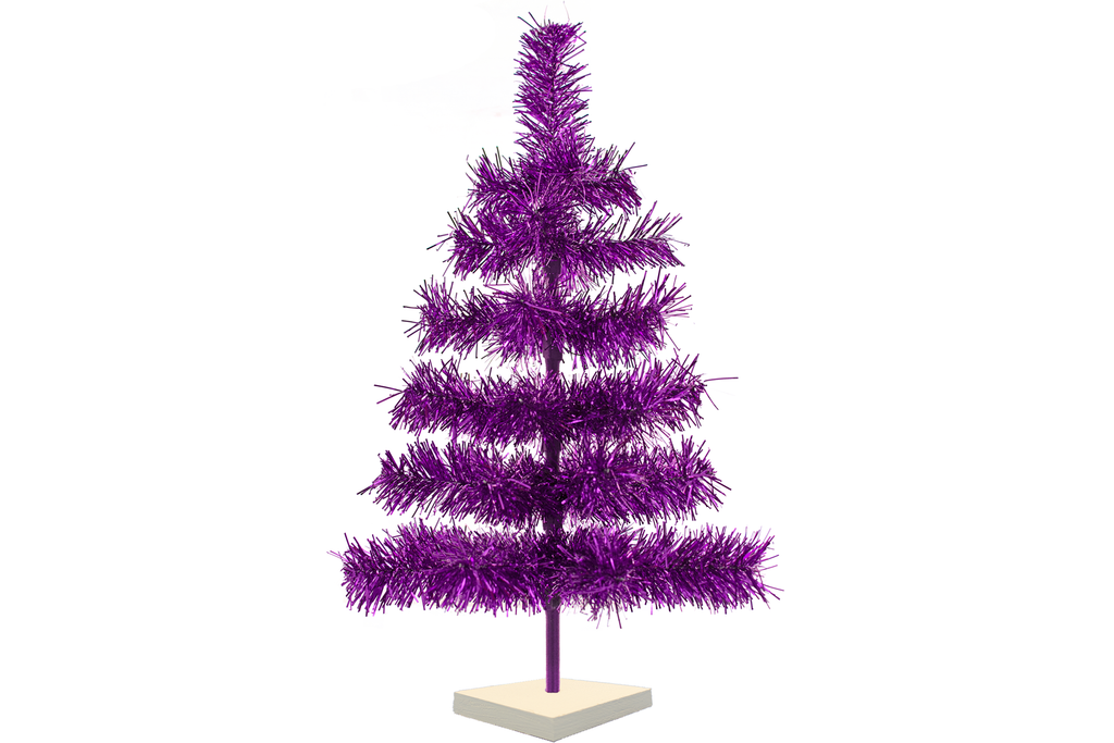 Purple Tinsel Christmas Trees made by Lee Display