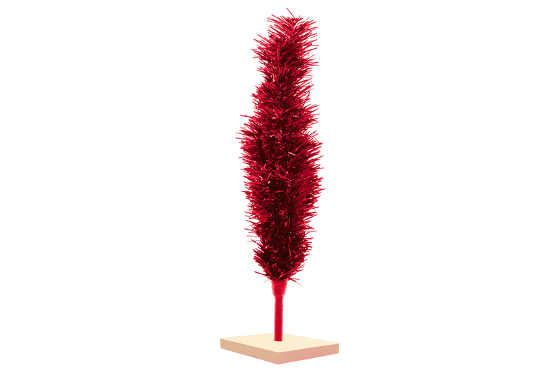Red Tinsel Christmas Trees made by Lee Display with Folding Branches for easy storage