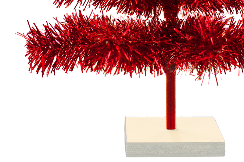 Red Tinsel Christmas Trees made by Lee Display with White Wooden Tree Base