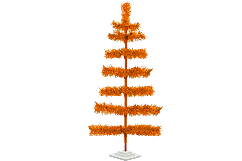 36in Orange Tinsel Christmas Tree with White Wood Stand Included sold by Lee Display