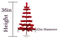 3ft Red Tinsel Christmas Trees sold by Lee Display - Dimensions
