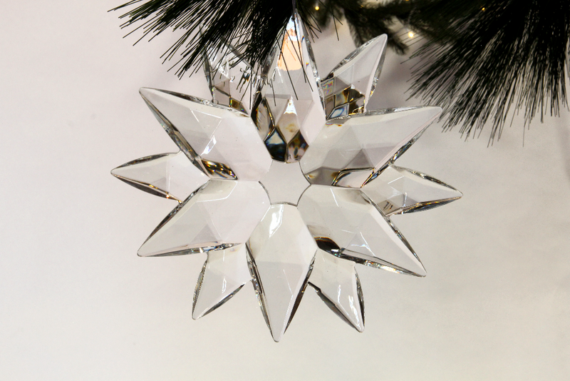 Cyrstal clear Acrylic Snowflakes sparkle in the light while hanging from your Christmas Tree branches.  Each snowflake comes with a thin deco mesh ribbon to easily hang from your tree branch, attach to a holiday garland, or dangle from the roof.