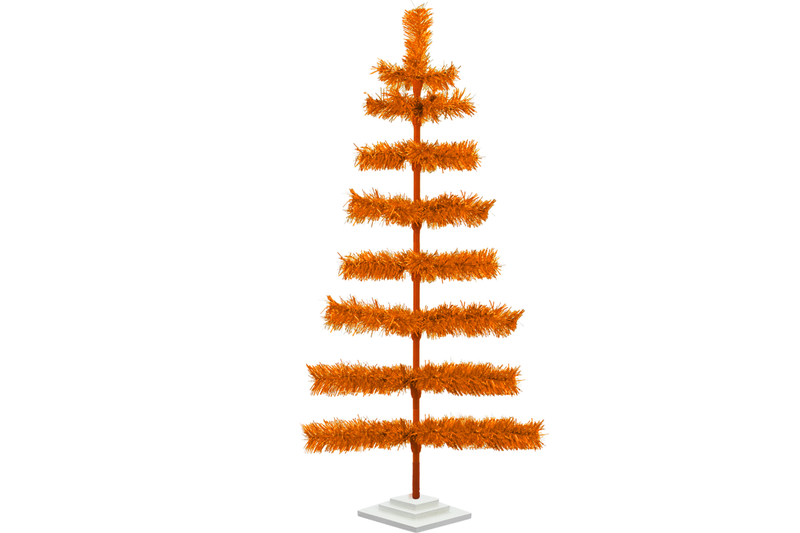 48in Orange Tinsel Christmas Tree with White Wood Stand Included sold by Lee Display