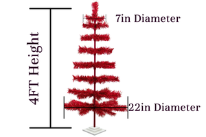 4ft Red Tinsel Christmas Trees sold by Lee Display - Dimensions