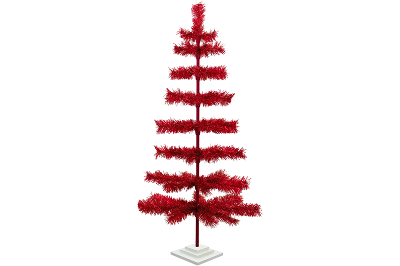 4ft Red Tinsel Christmas Trees sold by Lee Display