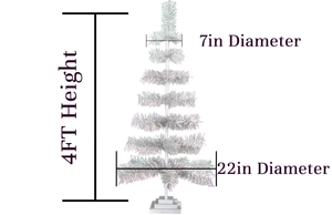 48in Silver Christmas Trees with Shiny Silver Tinsel Brush Branches sold by Lee Display