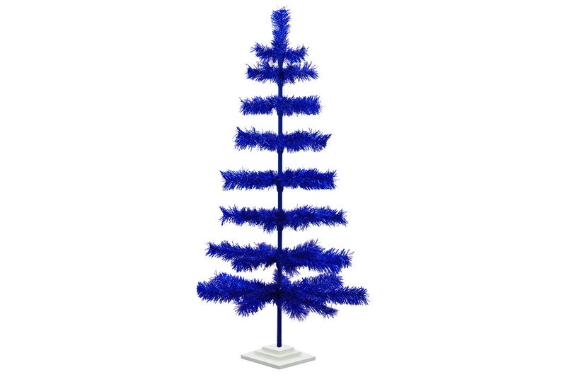 48in Blue Tinsel Christmas Trees made by Lee Display