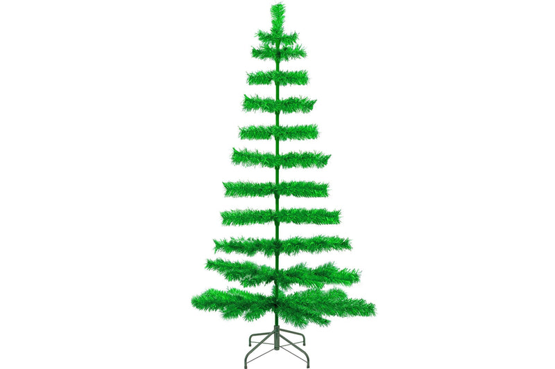 5FT Metallic Green Tinsel Christmas Tree with Green Metal Stand sold by Lee Display