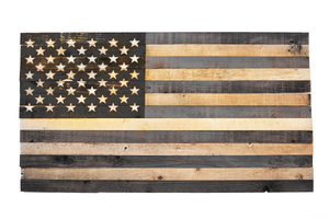 Black & Wood American Flags