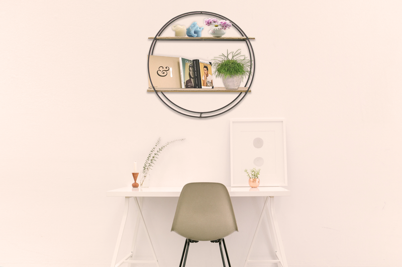 Lee Display's Circular Wall Hanging Shelf on Display in a room