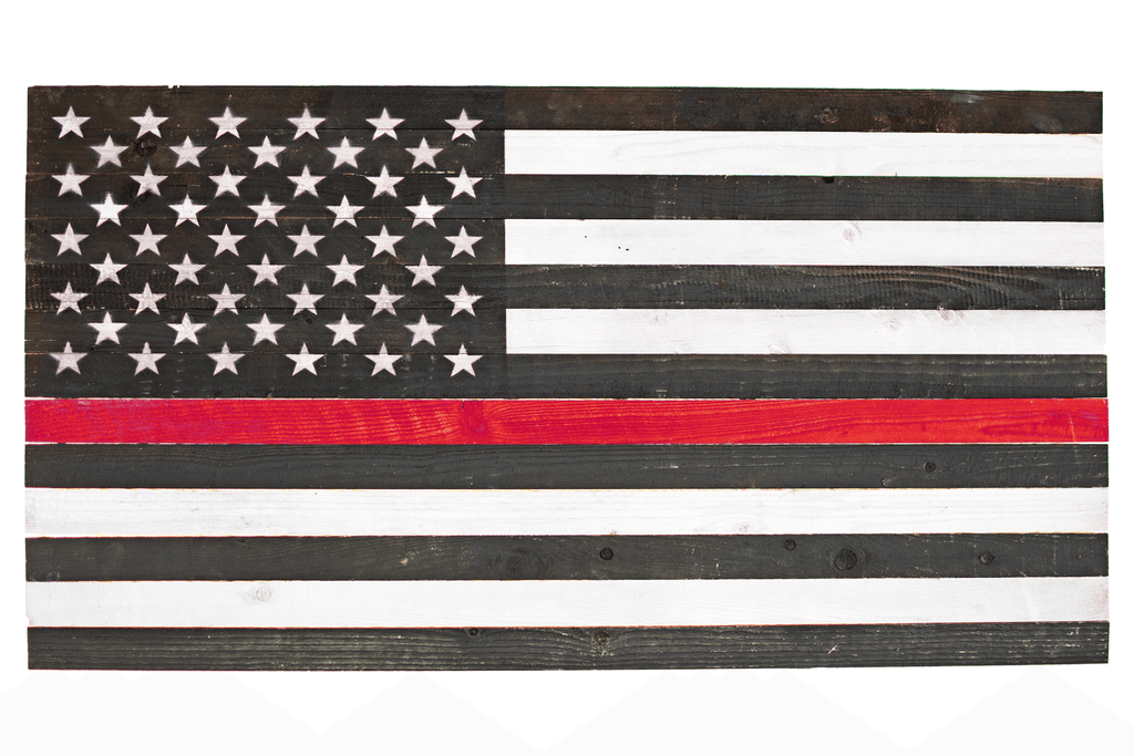 Hand-Made Wooden American Flags from Lee Display -   Decorate for the 4th of July with American pride. Cover your walls with a flag that shows off your rustic home decor honoring your fellow firefighters.