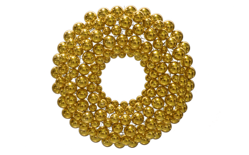 Gold Ball Ornament Christmas Wreaths!    We use our shatterproof Shiny Gold Ball Ornaments and attach them to a lightweight steel wreath frame.  Ball Ornament Wreaths are lightweight and ready to be hung on your wall.