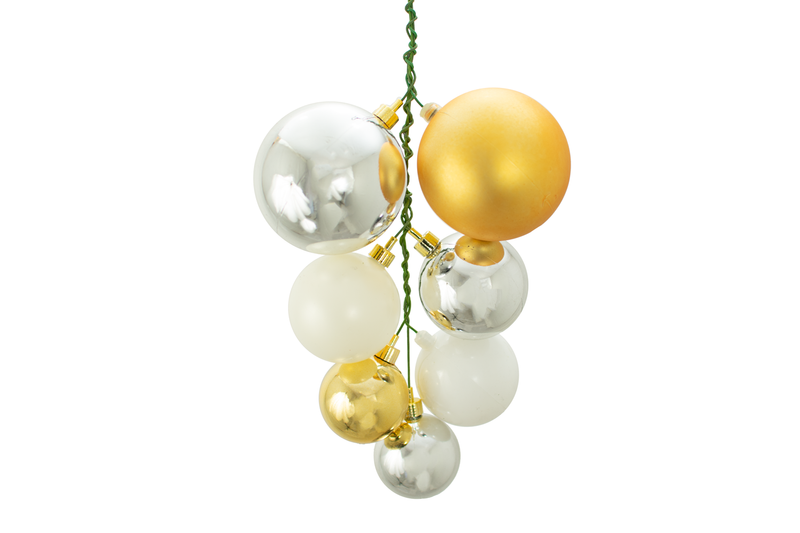 The Shiny Gold, Silver and White Ball Cluster