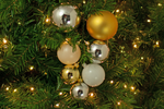 The Vallejo Ball Cluster with Shiny Gold, Silver, and White Ball Ornaments made and sold by Lee Display